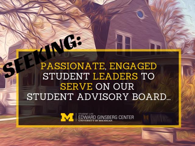 Seeking Ginsberg Center Student Advisory Board members flyer