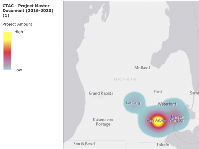 Heat map of CTAC partnership locations. Most are focused in Southeastern Detroit, with hot spots in Ann Arbor, Ypsilanti, and Detroit.