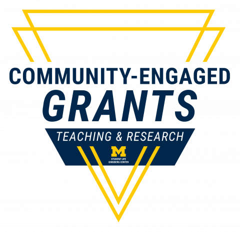 two intersecting yellow triangles with a blue banner in the middle saying community-engaged grants and 'teaching & research' and the Ginsberg Center logo with Block M