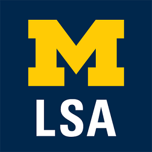 College of Literature, Science & the Arts logo: LSA with Block M on blue background