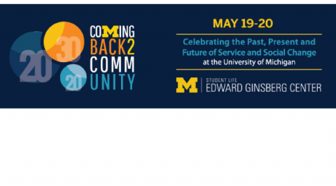 """Blue graphic banner with circles, which reads """"Coming Back to Community: Celebrating the Past, Present, and Future of Service and Social Change at the University of Michigan. Also features the Edward Ginsberg Center logo."""