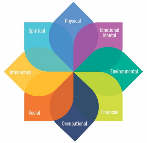 8-petaled flower for 8 elements of U-M well-being model: physical, emotional & mental, environmental, financial, occupational, social, intellectual, spiritual