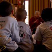 Students listen to storyteller