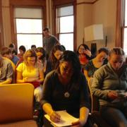 Students taking notes in Ginsberg Center