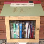 Close up of Little Free Library
