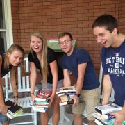 Students carring books
